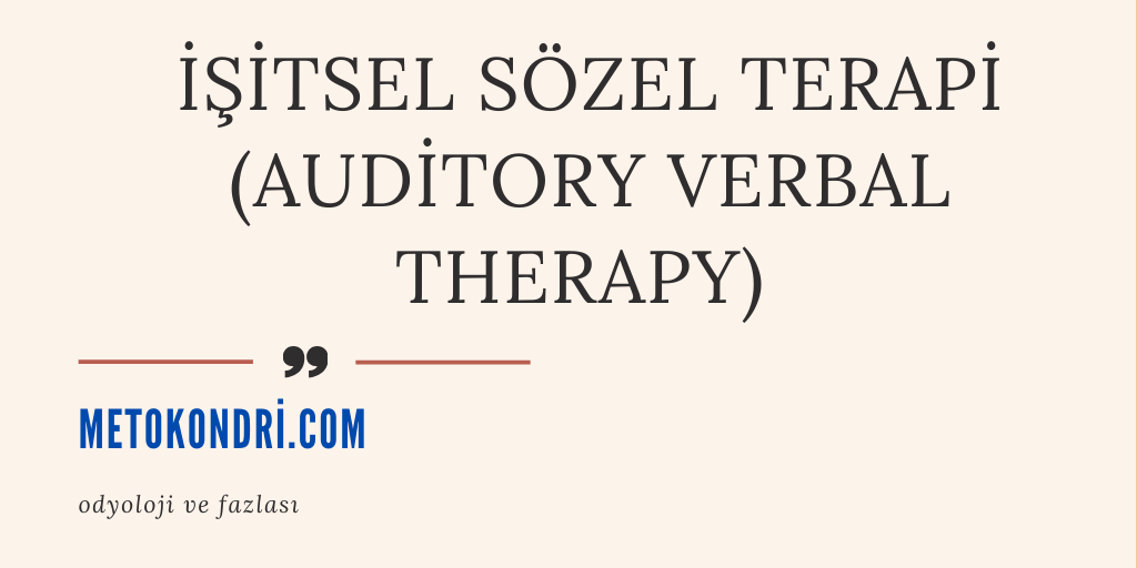 İşitsel Sözel Terapi (Auditory Verbal Therapy) 2020